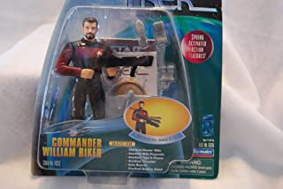 COMMANDER WILLIAM RIKER Star Trek: The Next Generation 1998 Warp Factor Series 1 Deluxe Action Figure with Real Phaser Rifle Drawing Action
