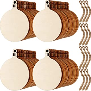 Blulu 120 Sets Round Wood Slices Christmas Blank Wood Discs Wood Baubles for Christmas Tree Pendant Embellishment