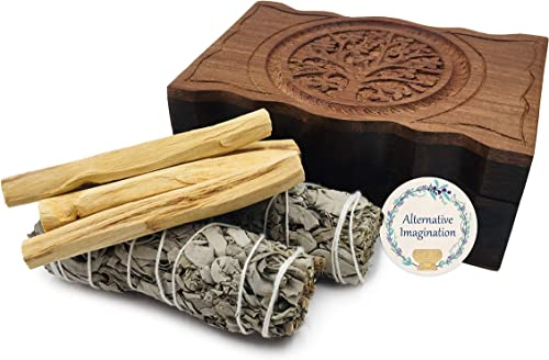 2021 Carved Tree of Life Wooden Box with popular outlet sale 2 California White Sage and 4 Palo Santo Incense online