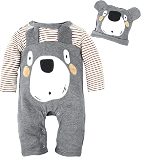 BIG ELEPHANT Baby Boys' 2 Pieces Cute Animal Long Sleeve Romper Jumpsuit with Hat G81G82