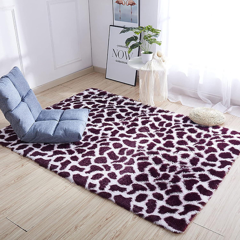CClz Impresión De Leopardo Shaggy Alfombra Suave Furry Salón Alfombra para La Decoración del Hogar Antideslizante Esponjoso Dormitorio Cabecera Alfombra-Vino Tinto 100x160cm(39x63inch)
