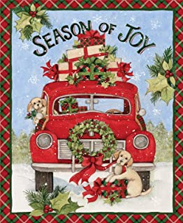 Red Truck Season of Joy Puppies Gifts 36 x 44 inches Panel by Susan Winget for Springs Creative 100% Cotton Fabric SC-69113