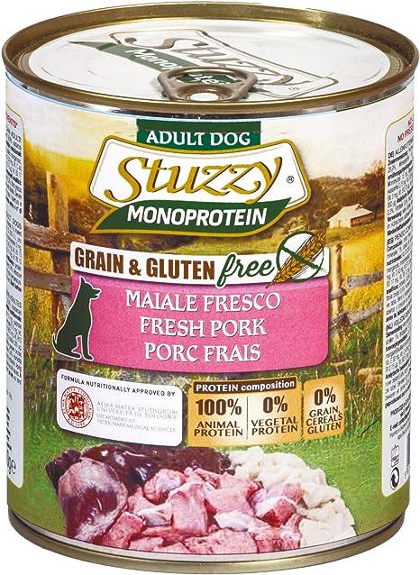 Stuzzy, Comida húmeda para Perros Adultos, Sabor Carne de Cerdo Fresca, preparación monoproteínica en paté - Total 4,8 kg (6 latas x 800 gr)