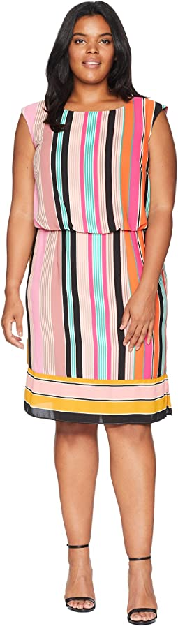 Plus Size Fiesta Stripe Blouson Dress