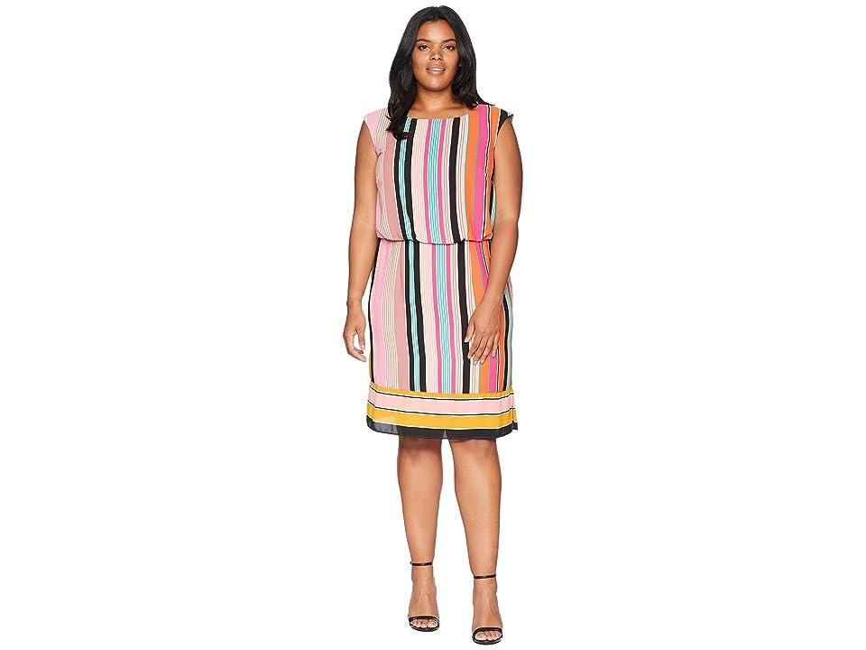 Adrianna Papell Plus Size Fiesta Stripe Blouson Dress (Pink Multi) Women