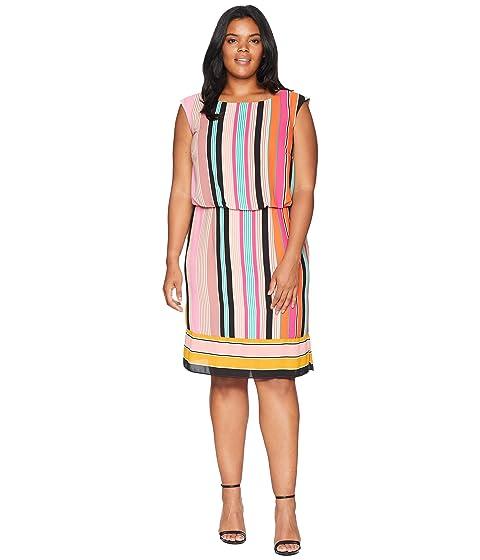 Adrianna Papell Plus Size Fiesta Stripe Blouson Dress At Zappos