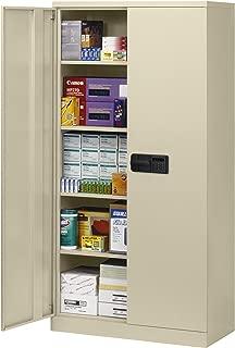Sandusky Lee KDE7824-07 Putty Steel SnapIt Storage Cabinet, 4 Adjustable Shelves, Keyless Electronic Coded Lock, Powder Coat Finish, 78