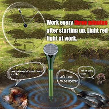 Solar Powered Snake Repellent for Outdoor, Gopher Repellent Ultrasonic, Get Rid of Snake Mole Gophers for Outdoor Garden Yard