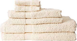 HomeLabels Premium 6 Piece Towel Set (Beige); 2 Bath Towels, 2 Hand Towels and 2 Washcloths - Cotton - Hotel Quality, Super Soft and Highly Absorbent