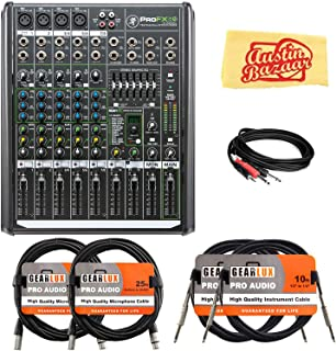 Mackie ProFX8v2 8-Channel Professional Effects Mixer Bundle with XLR Cable, Instrument Cable, Stereo Breakout Cable, and Austin Bazaar Polishing Cloth