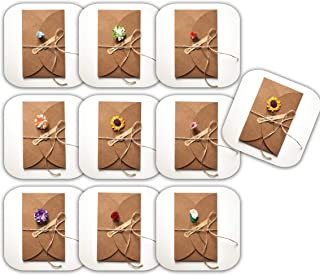 10 Creative Artificial Flower Greeting Cards Paper Kraft with Envelopes, Artificial Flower, Sticker and Hemp Rope   Best Greeting Card for Thanksgiving, Christmas, Happy Birthday, Thank You Cards 5x7