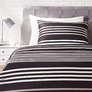 Amazon Basics - Juego de ropa de cama con funda de edredón, de satén, 135 x 200 cm / 50 x 80 cm x 1, A rayas