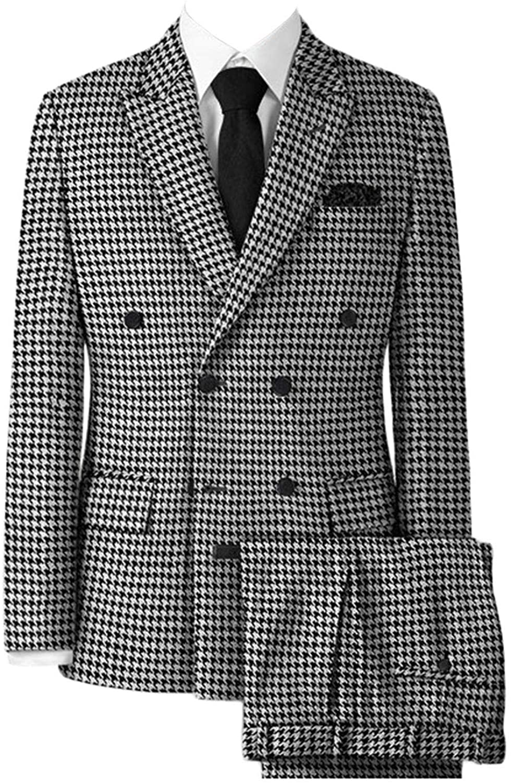 Wemaliyzd Men's Double Breasted 2 Piece Houndstooth Tuxedo Suit Peak Lapel Blazer