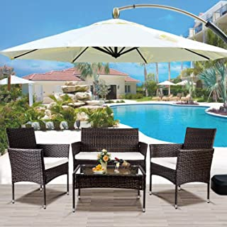 Merax 4 PC Patio Furniture Sets Outdoor Garden Rattan...