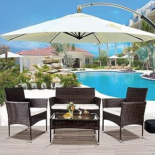 LZ LEISURE ZONE 4 PC Rattan Patio Furniture Set Outdoor...
