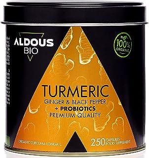 Gurkmeja med ingefära och svartpeppar med PROBIOTIK i 125 dagar (1520 mg) 250 kapslar | Antiinflammatorisk och naturlig an...