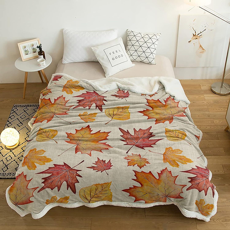 Sherpa Throw Blanket Vintage Farmhouse Super sale Autumn lowest price Maple Leaves