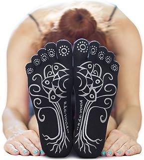 2 Pairs ? RAE YOGA Barre Pilates Non Skid Full Toe Ankle Socks ? Bamboo Barefoot Feel (S-M Black)
