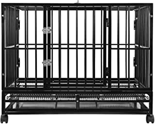 SmithBuilt Heavy Duty Dog Crate Cage - Two-Door Indoor Outdoor Pet & Animal Kennel with Tray - Various Sizes & Colors