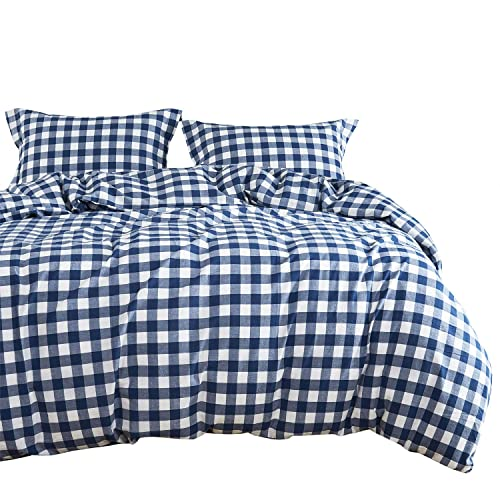 Wake In Cloud - Washed Cotton Duvet Cover Set, Buffalo Check Gingham Plaid Geometric Checker Pattern Printed in Navy Blue and White, 100% Cotton Bedding, with Zipper Closure (3pcs, Queen Size)