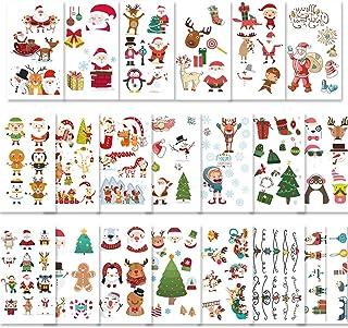Konsait 170pcs Christmas Temporary Tattoos for Kids,Cartoon Christmas Body Art Stickers Xmas Tattoos for Kids Christmas Su...