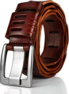 GUHIDO Fashion Belts, First Layer Cow Leather Dress Belts with Classic and Casual Single Prong Buckle Fashion Design for All Ages Male and Female