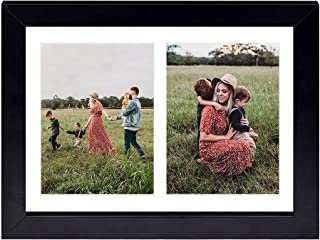 Golden State Art, 8.5x11 Black Wooden Picture Frame - White Mat for 2-5x7 Photos - Real Glass - Easel Stand for Landscape/...