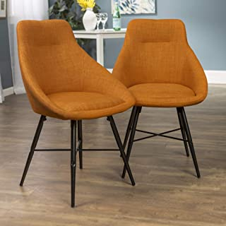 WE Furniture Mid Century Modern Upholstered Fabric Dining Room Chairs, Set of 2, Orange