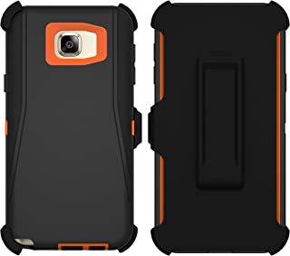 Galaxy Note 5 Case, ToughBox [Armor Series] [Shock Proof] for Samsung Galaxy Note 5 Case [Built in Screen Protector] [Holster & Belt Clip] [Fits Otterbox Defender Series Belt Clip] (Black | Orange)