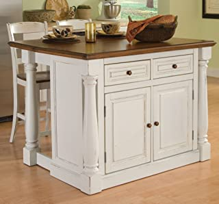Monarch White Kitchen Island with 2 Stools by Home Styles