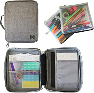 $34 » Journal Supplies Storage Case (Gray - Large) - Custom Travel Organizer Holder for B5 Planner, Pens, Journal Supplies and A...