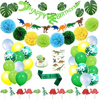Dinosaur Party Supplies - Birthday Decorations Little Dino Party Decorations Set for Kids Dinosaur Party Favors Dinosaur Balloons Dinosaur Cake Topper Jungle Latex Balloons with Pump Tattoo (69 Pack)