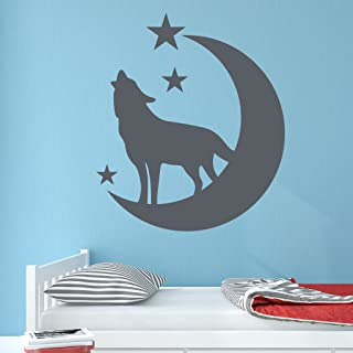 Wolf with Moon and Stars Wall Decal by Style & Apply - Wall Sticker, Vinyl Wall Art, Home Decor, Wall Mural - SA3073-24in x 27in-Dark gray