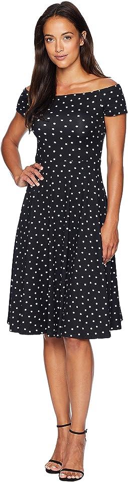 Lynne Off the Shoulder Polka Dot Dress