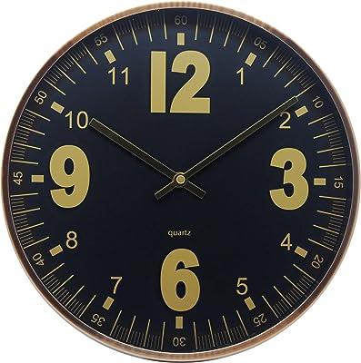 Comodo Casa Wall Clock- Metal Gold Frame-Glass Cover-Non Ticking-Quartz Sweep-Silent 12 inch Retro Clock (Style 3)