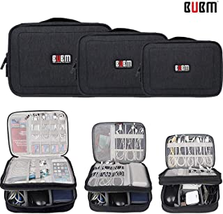 BUBM 3pcs/Set XL/L/M Padded Electronics Travel Organizer,Double Layers Packing Gadget Bag Carrying Pouch for Cables, Cord, Battery,Wire and More,Black
