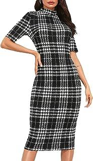 Women's Short Sleeve Plaid Grid Round Neck Elegant Sheath Pencil Bodycon Dress
