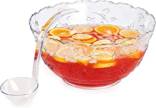 Premium Quality Plastic Punch Bowl With Ladle - Large 2 Gallon Bowl With 5 oz Ladle by Upper Midland Products
