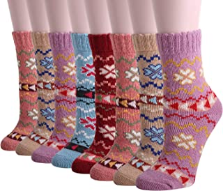 Women's 6 or 8 Pairs Winter Warm Casual Thick Knit Wool Soft Crew Socks