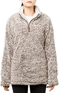 Women's Long Sleeve Fuzzy Frosty Pile Tipped Quarter-Zip Sherpa Fleece Sweatshirt Pullover Jacket Coat
