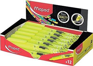 MAPED - Boite de 12 Surligneurs Fluo'Peps Pen, coloris Jaune - format stylo Idéal pour La Trousse !