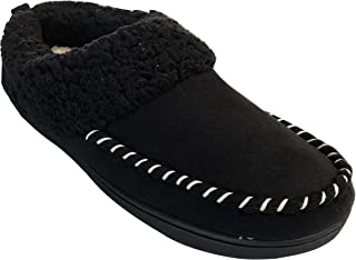 Dearfoams Women's Microsuede Memory Foam Clog Sherpa Slippers with Whipstitch