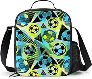 FeHuew Trendy Soccer Pattern Insulated Lunch Bag Cooler Lunchbox Shoulder Straps Lunch Box Container for Girls Boys Women ...