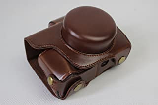 EM10 Mark III Case, BolinUS PU Handmade Leather FullBody Camera Case Bag Cover for Olympus OM-D E-M10 Mark III with 14-42mm lens Bottom Opening Version + Neck Strap + Mini Storage Bag - Coffee