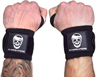 Gymreapers Wrist Wraps Weightlifting - Stiff Heavy Duty 18 inch Wraps with Thick Thumb Loop for Powerlifting, Bodybuilding, Cross Training, Heavy Presses