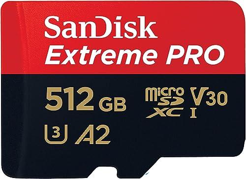 Sandisk Extreme Pro microSDXC, SQXCZ 512GB, V30, U3, C10, A2, UHS-I, 170MB/s R, 90MB/s W, 4x6, SD Adaptor, Lifetime L...
