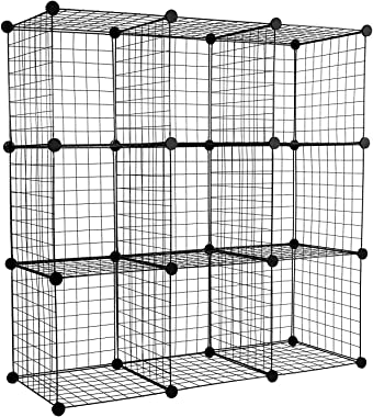 """Work-It! Wire Storage Cubes, 9-Cube Metal Grid Organizer 
