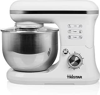 Tristar MX-4817 多功能厨师机,带5升不锈钢碗,1200瓦,白色,不锈钢