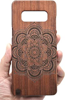 VolksRose Samsung Galaxy Note 8 Wooden Case - Rosewood Mandala Flower - Premium Quality Natural Wooden Case for Your Smartphone and Tablet
