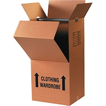"""BOX USA Pre-Printed Wardrobe Moving Boxes, 20"""" Length x 20"""" Width x 45"""" Height, Kraft (Pack of 3)"""